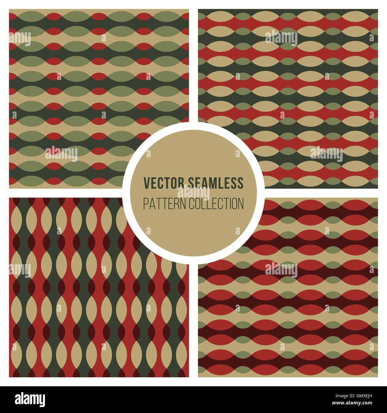 Ensemble de quatre ligne ondulée vecteur Modèles rétro Ellipse en vert et rouge Photo Stock