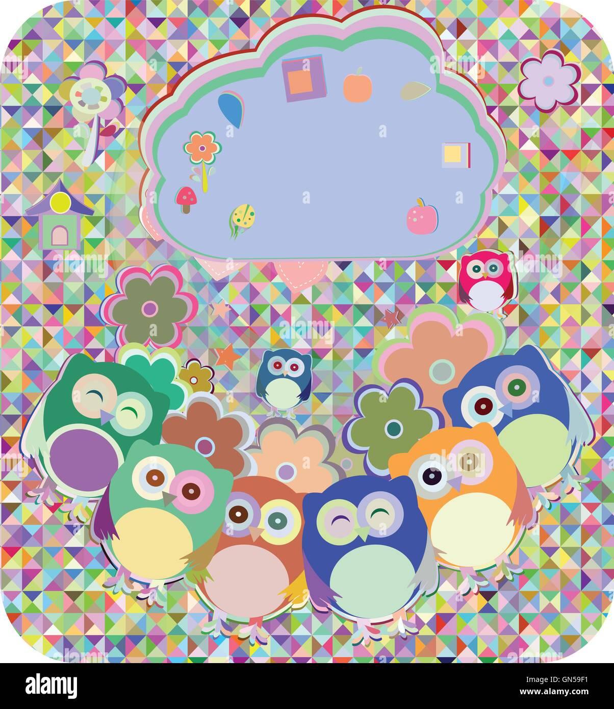 Les hiboux, oiseaux, fleurs, nuage et coeur d'amour, vector illustration Illustration de Vecteur