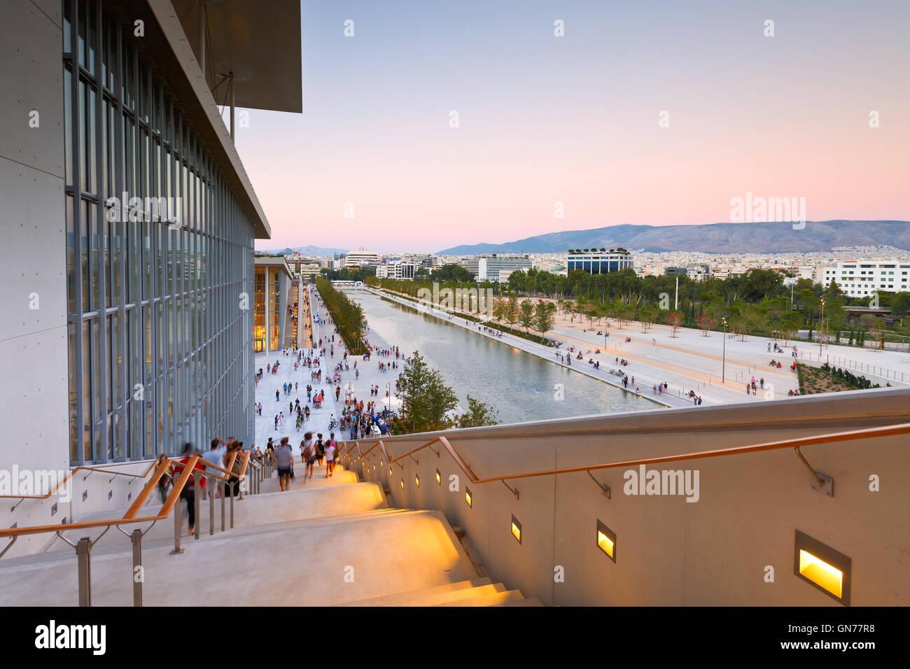 Vue sur centre culturel de la Fondation Stavros Niarchos et ville d'Athènes. Photo Stock