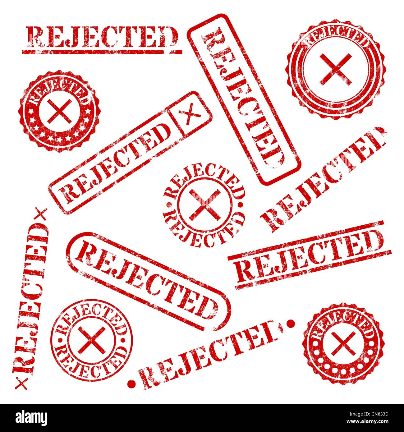 Stamps rejeté, vector illustration. Photo Stock