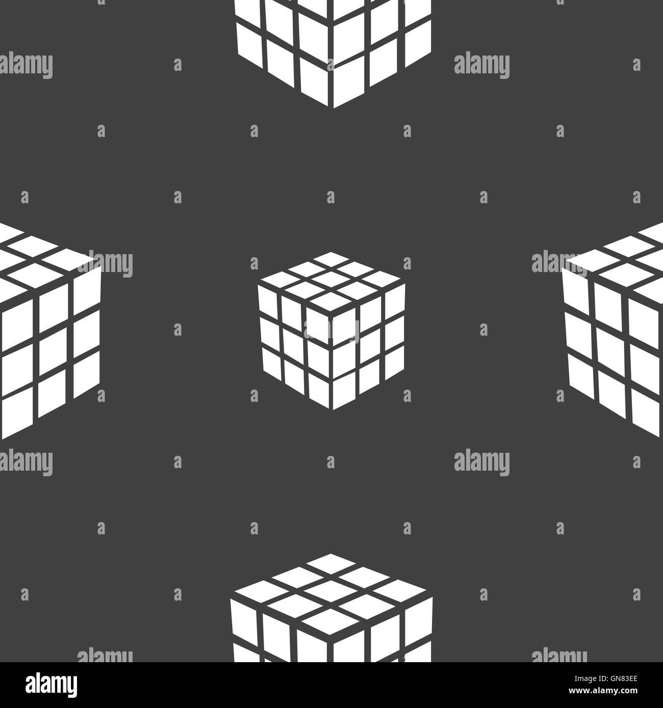 Une boîte de puzzle cube à trois côtés dans l'icône 3D signe. Motif transparente sur un fond gris. Vector Illustration de Vecteur