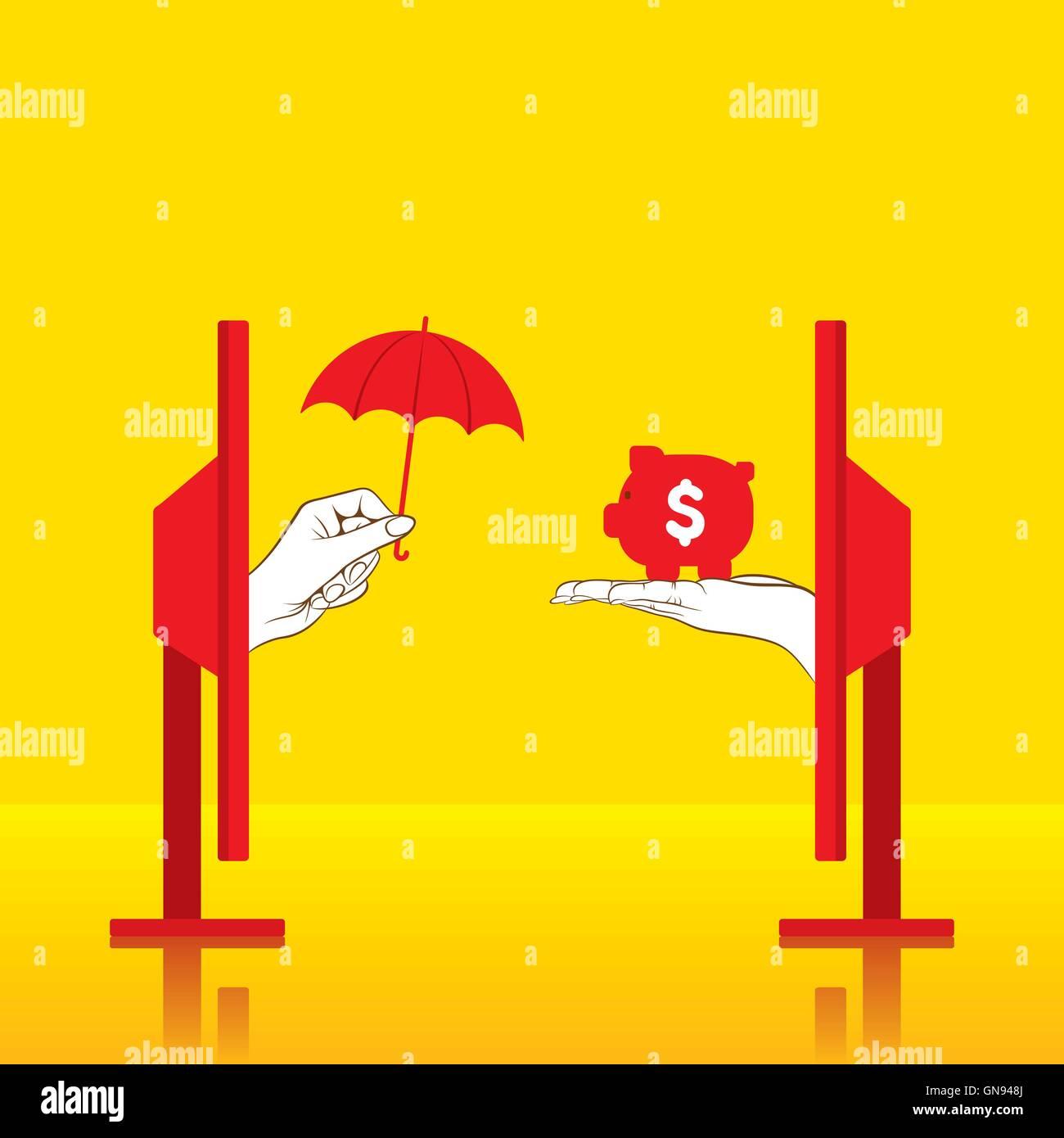 De l'argent sûr conceptuel créatif ou assurer l'argent concept design Photo Stock
