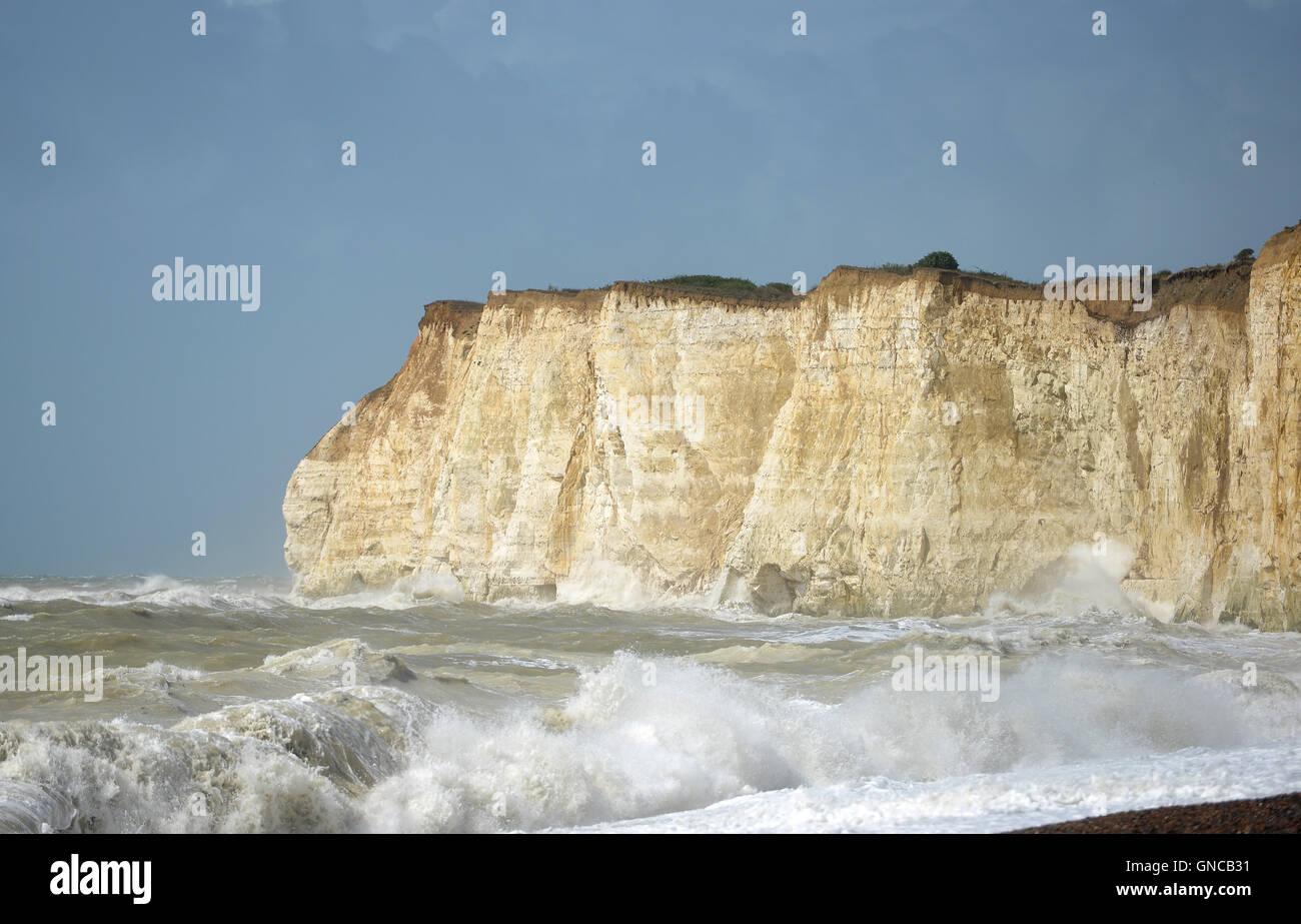 Une mer et les falaises de Sussex Photo Stock