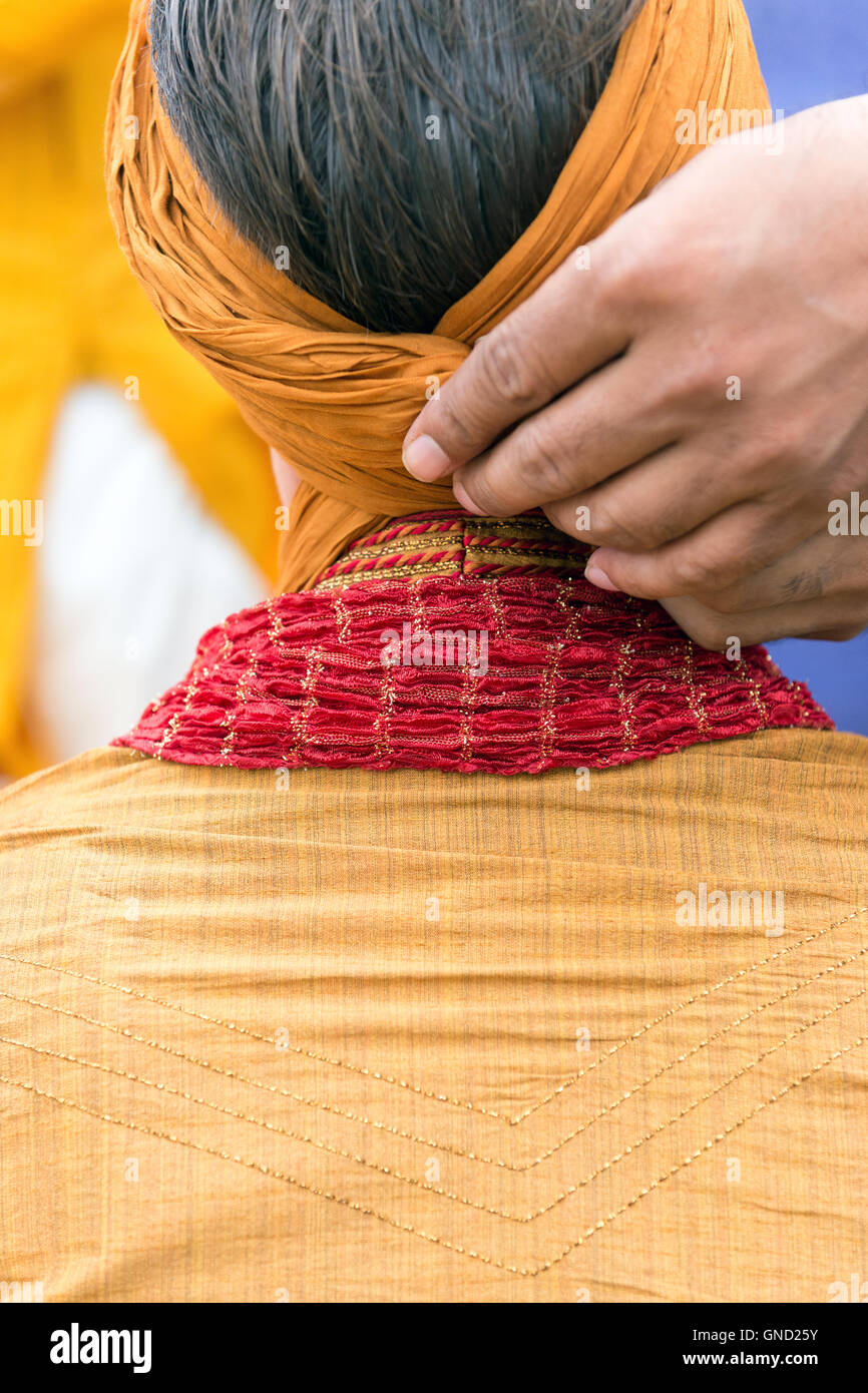 Man doing pagri. Photo Stock