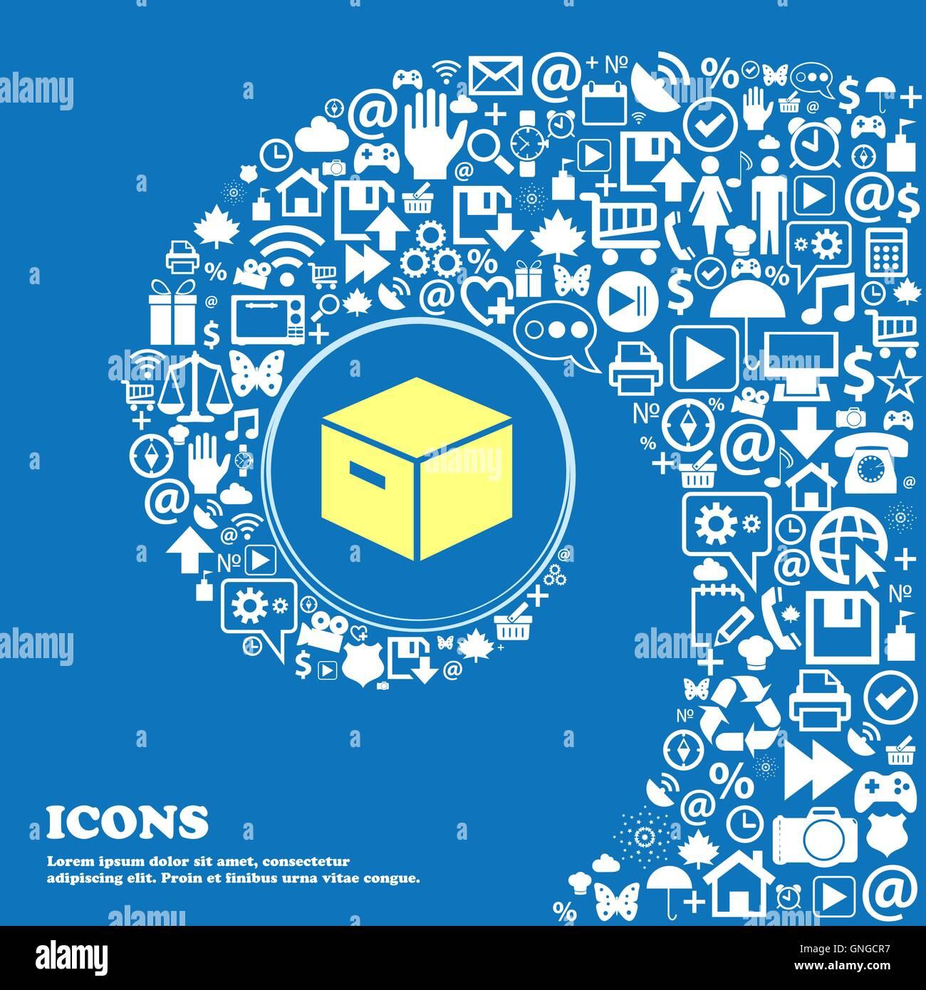 Boîte en carton d'emballage de l'icône . Bel ensemble de belles icônes spirale torsadée Photo Stock