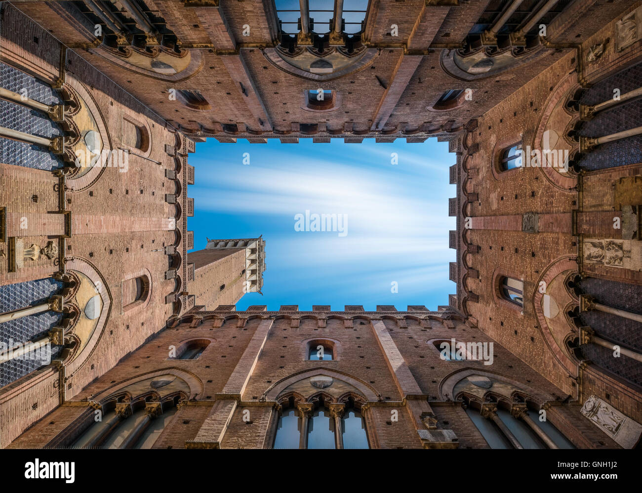 Torre del Mangia, Sienne, Italie Photo Stock
