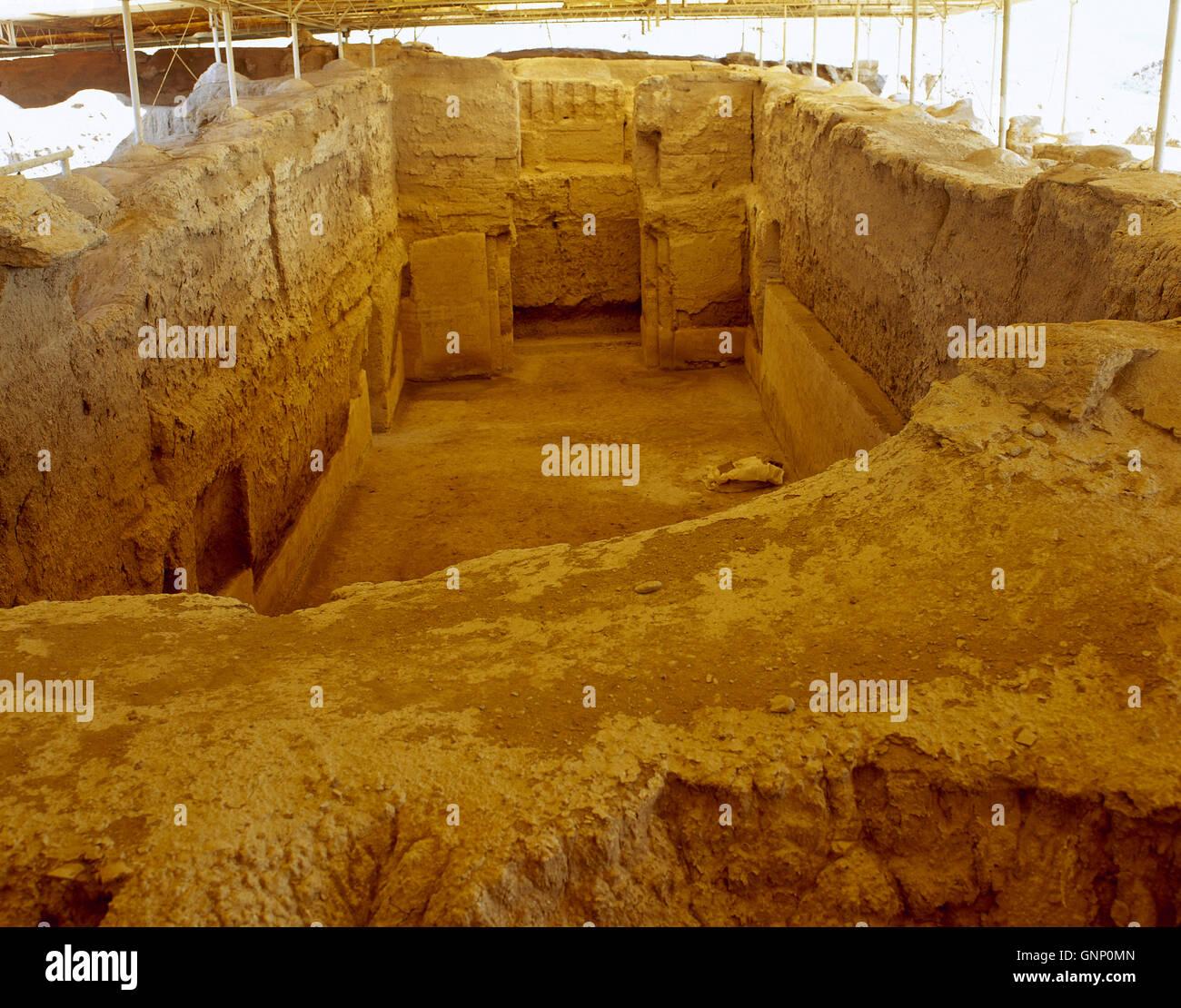 La Syrie. Mari (Tell Hariri) moderne. L'ancienne ville sémitique. 2900 BC-1759 BC. Palais Royal. Salle Photo Stock