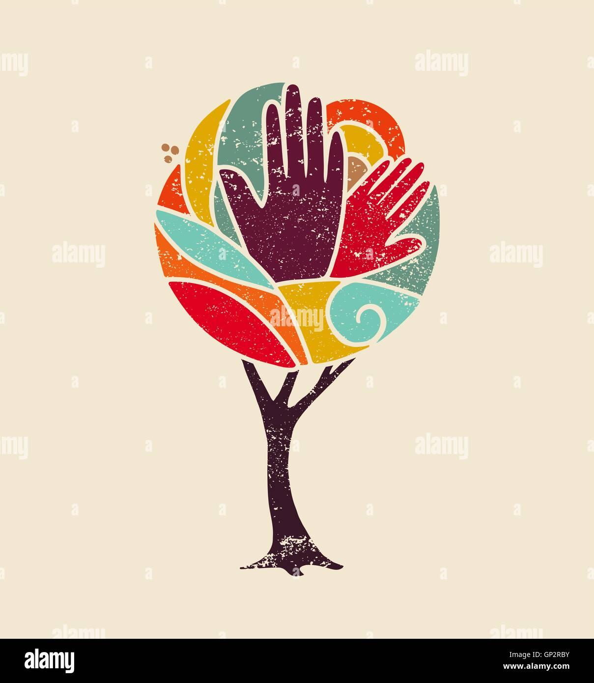 Grunge arbre coloré concept art avec les gens les mains et nature conception de la diversité sociale, l'environnement Illustration de Vecteur