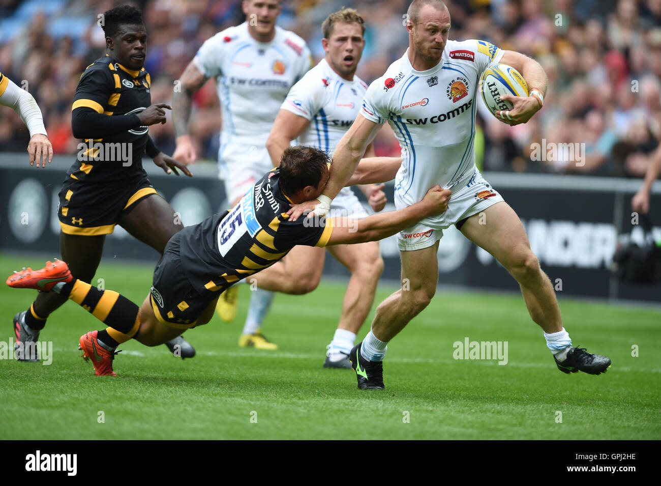 • Waspsà Chiefsà Rob Miller s'attaque à Exeter• James pendant la courte Aviva Premiership match Photo Stock