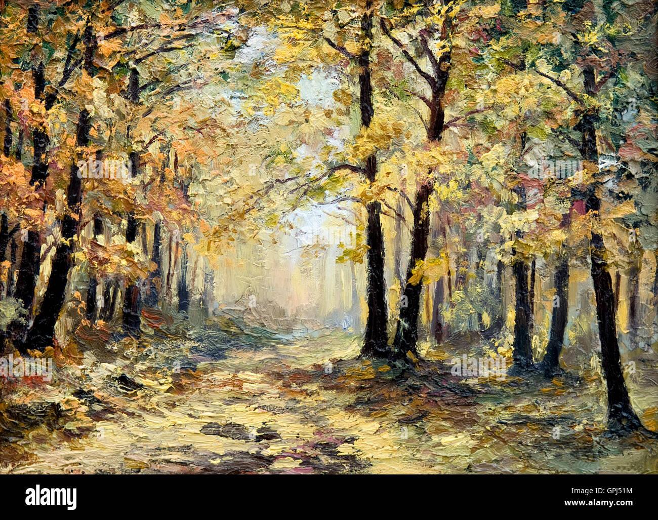 Peinture A L Huile Paysage Foret D Automne Plein De Feuilles