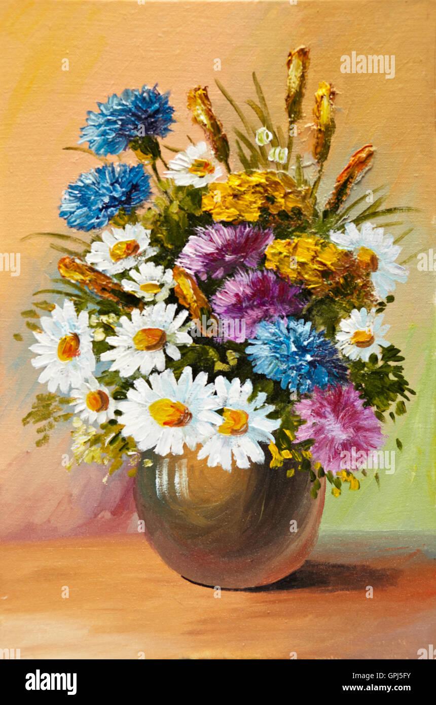 Peinture A L Huile De Fleurs Printanieres Dans Un Vase Sur Toile