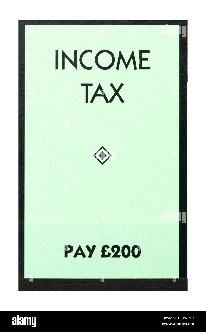 Jeu de Monopoly Payez l'impôt sur le revenu indiquant £200, le classique jeu d'échange de Photo Stock