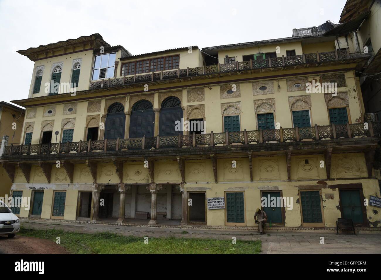 Belle fort Ramnagar aux couleurs de l'architecture détaillée incroyable à Varanasi ou bénarès sarnath près de l'Uttar Pradesh en Inde Banque D'Images