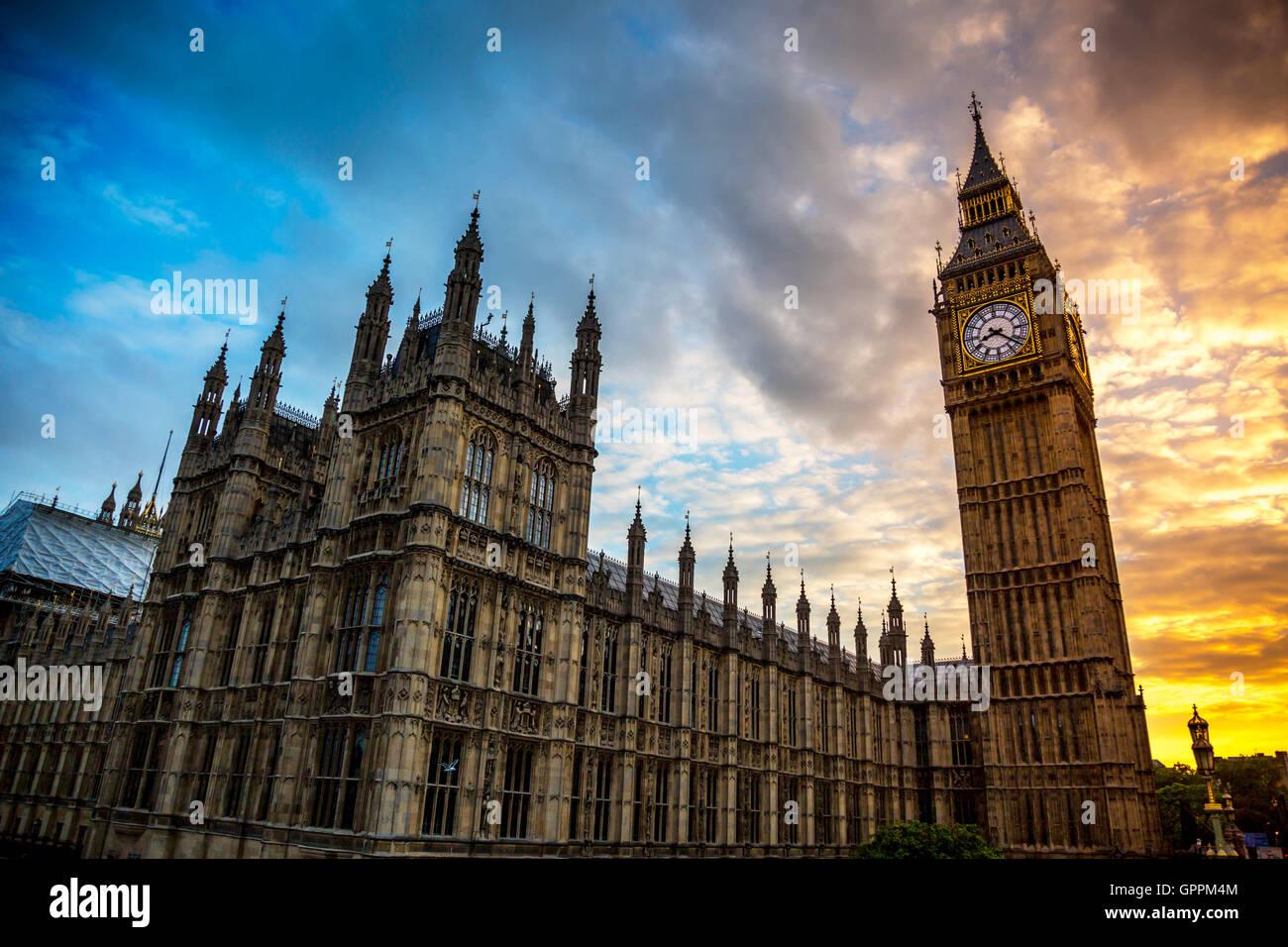Big Ben au coucher du soleil Photo Stock