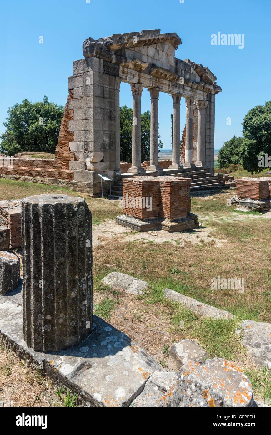 Le Monument d'Agonothetes à Apollonia près de Fier, au centre du pays. Photo Stock