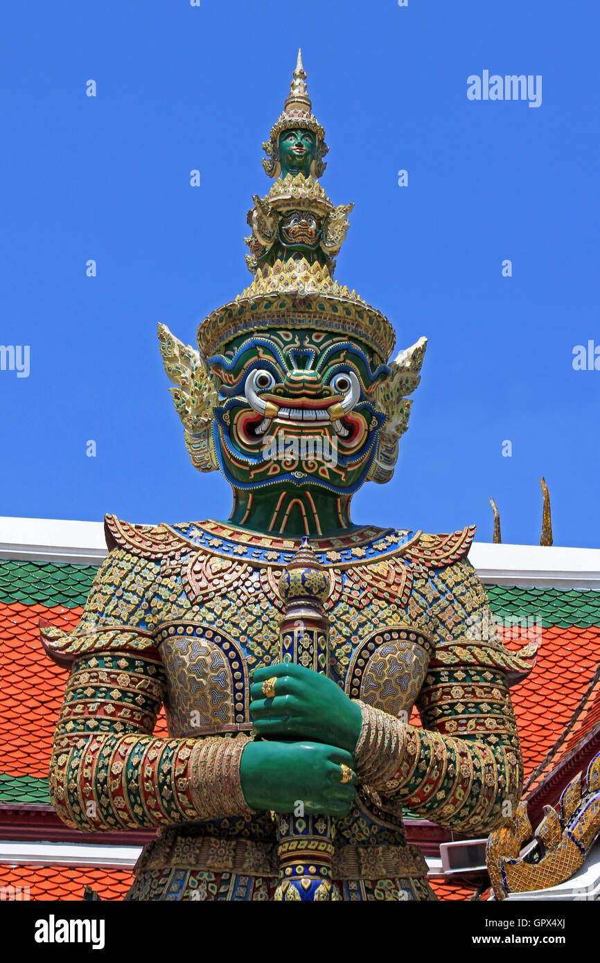 Daemon Gardien du Wat Phra Kaew, Grand Palace Bangkok Thaïlande Photo Stock