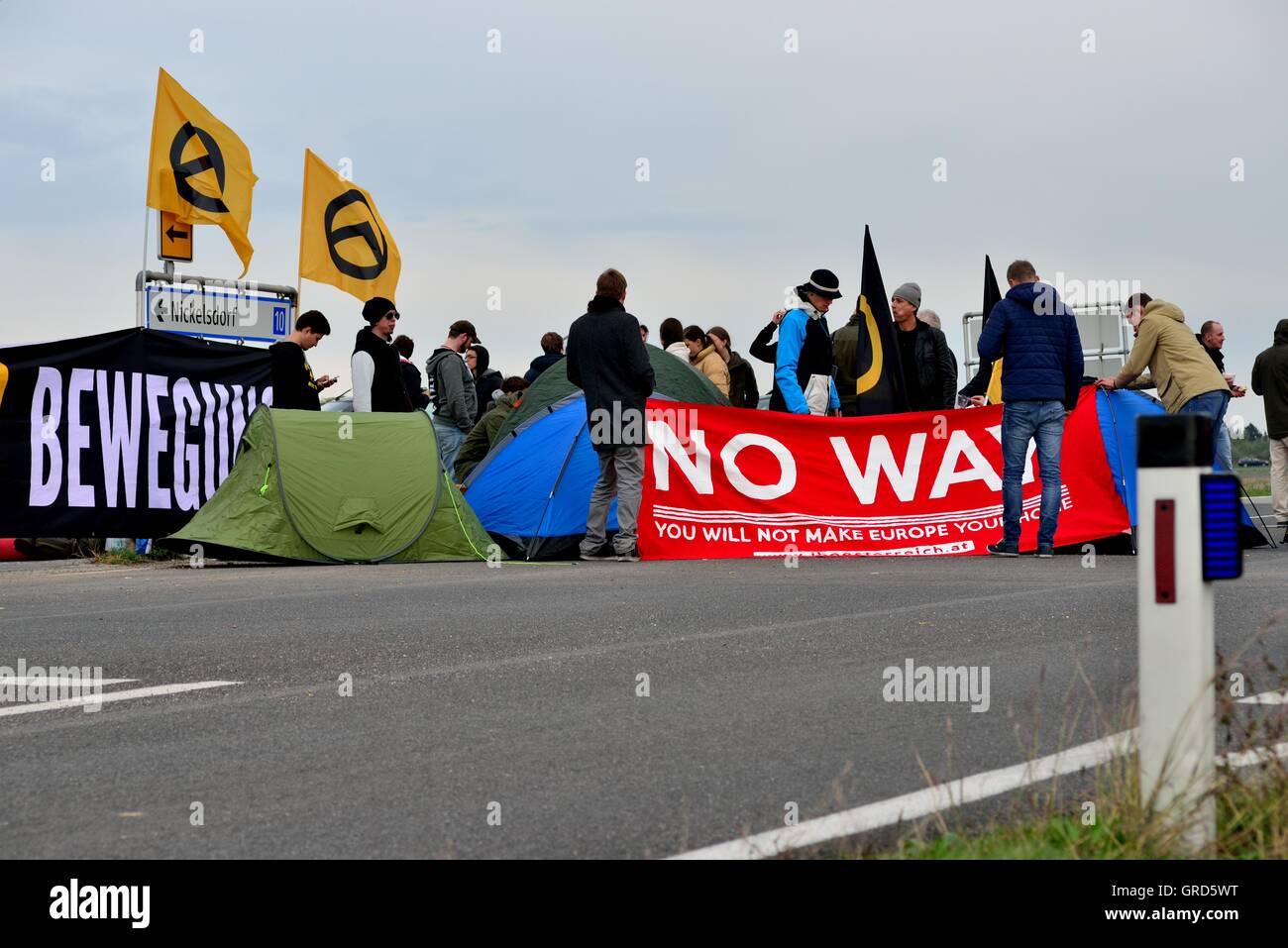 17. Oktober 2015 Nickesldorf Grenzübergang Blocus Photo Stock