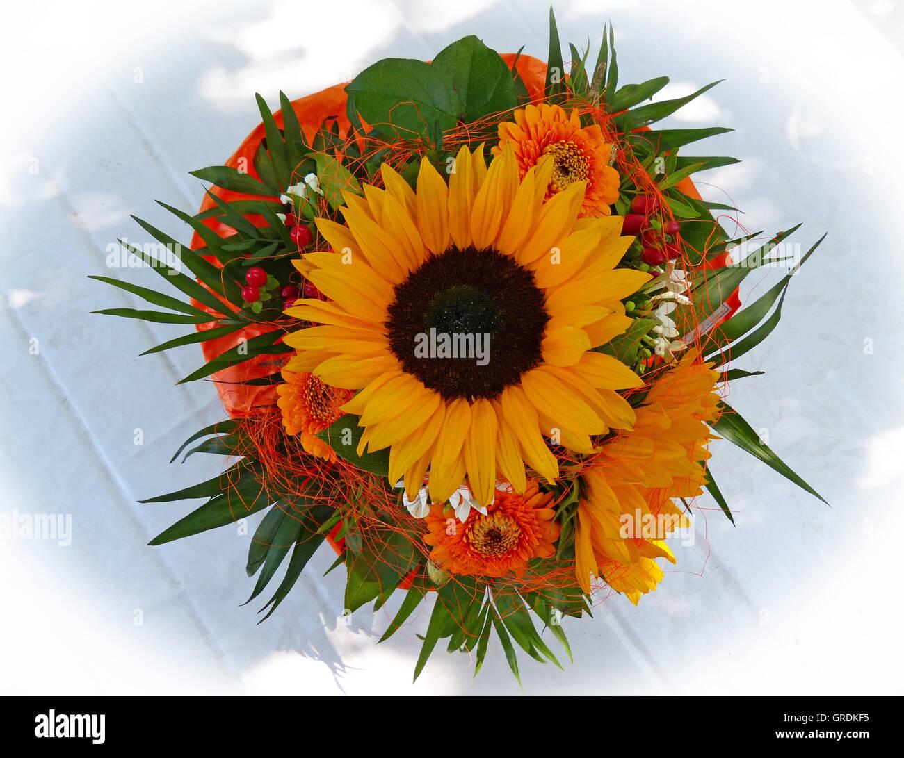 bouquet de fleurs, bouquet de tournesol banque d'images, photo stock