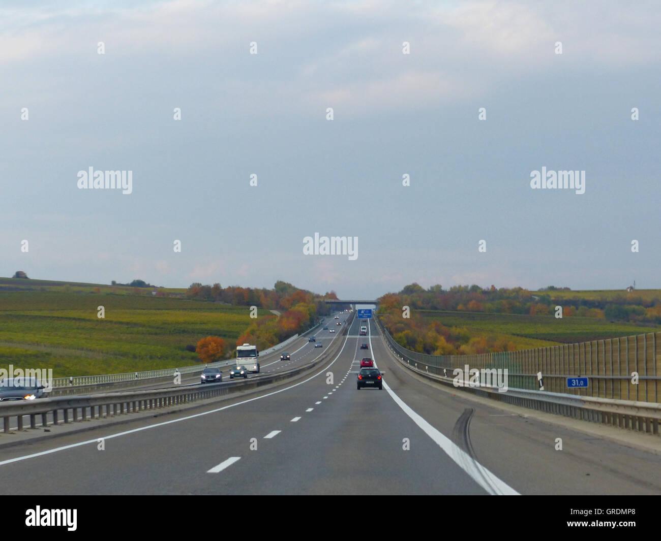 L'Autoroute, marques de dérapage Photo Stock