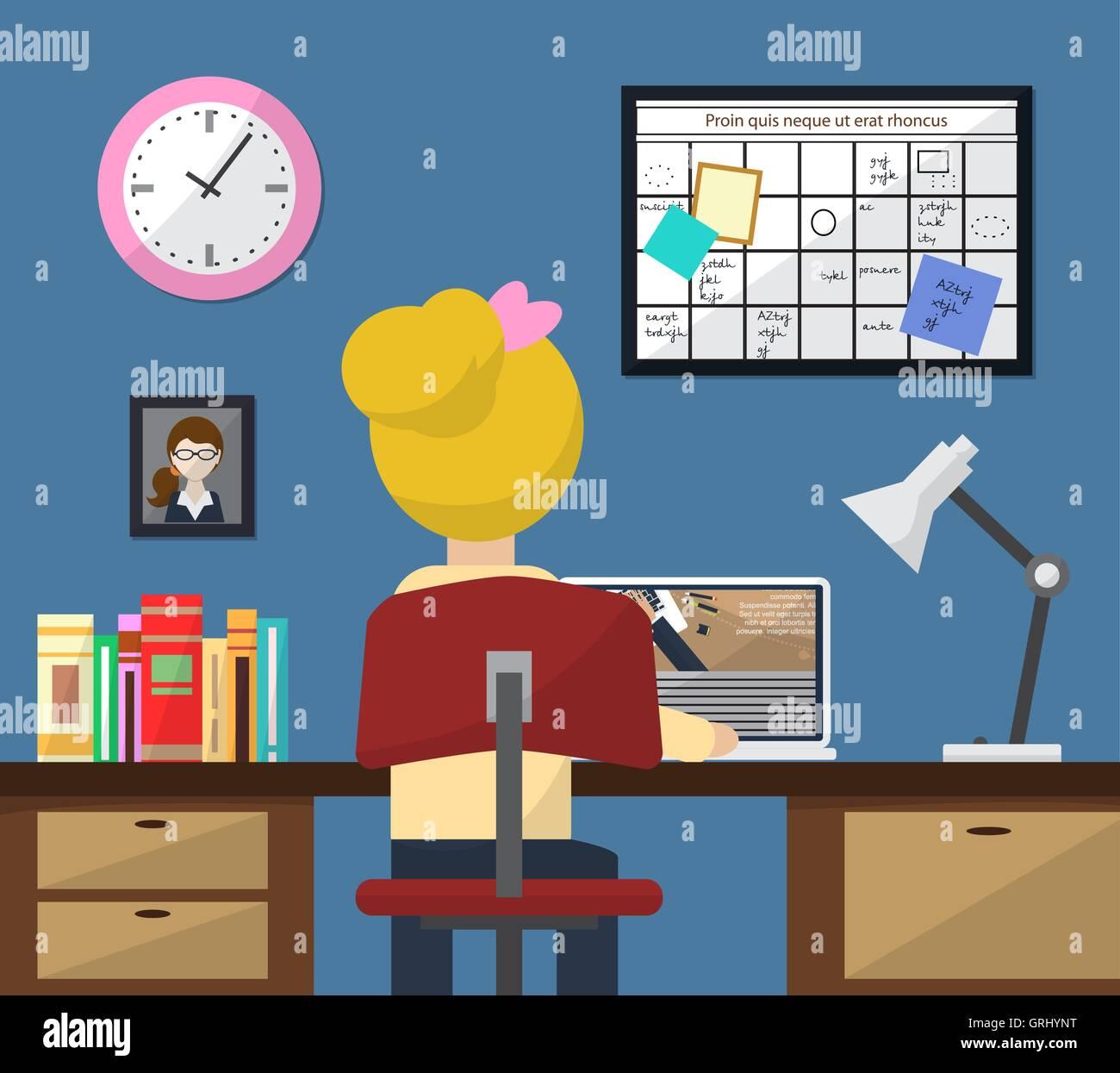 Illustration du travail en salle. Fille au travail. Style plat. Vector Illustration de Vecteur
