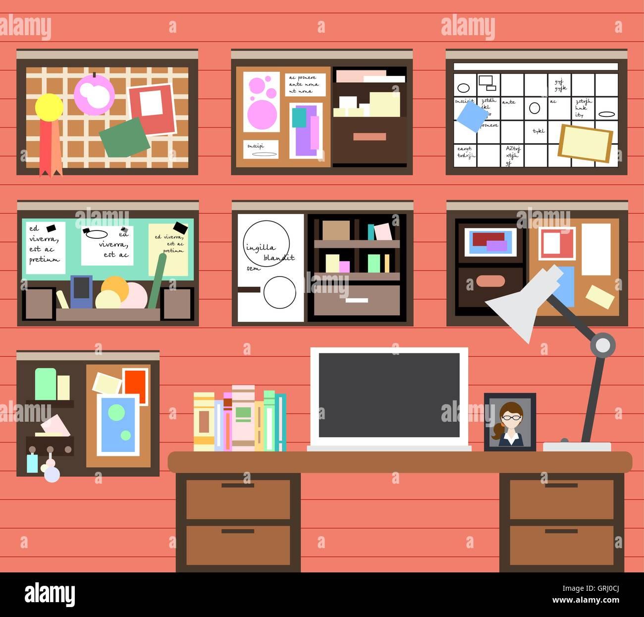 Lieu de travail de l'homme avec l'ordinateur, lampe, livres et de nombreux détails. Vector Illustration de Vecteur
