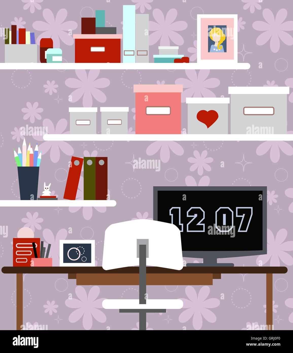 Lieu de travail de fille avec le bureau, chaise, livres, montres et autres articles. Vector Illustration de Vecteur