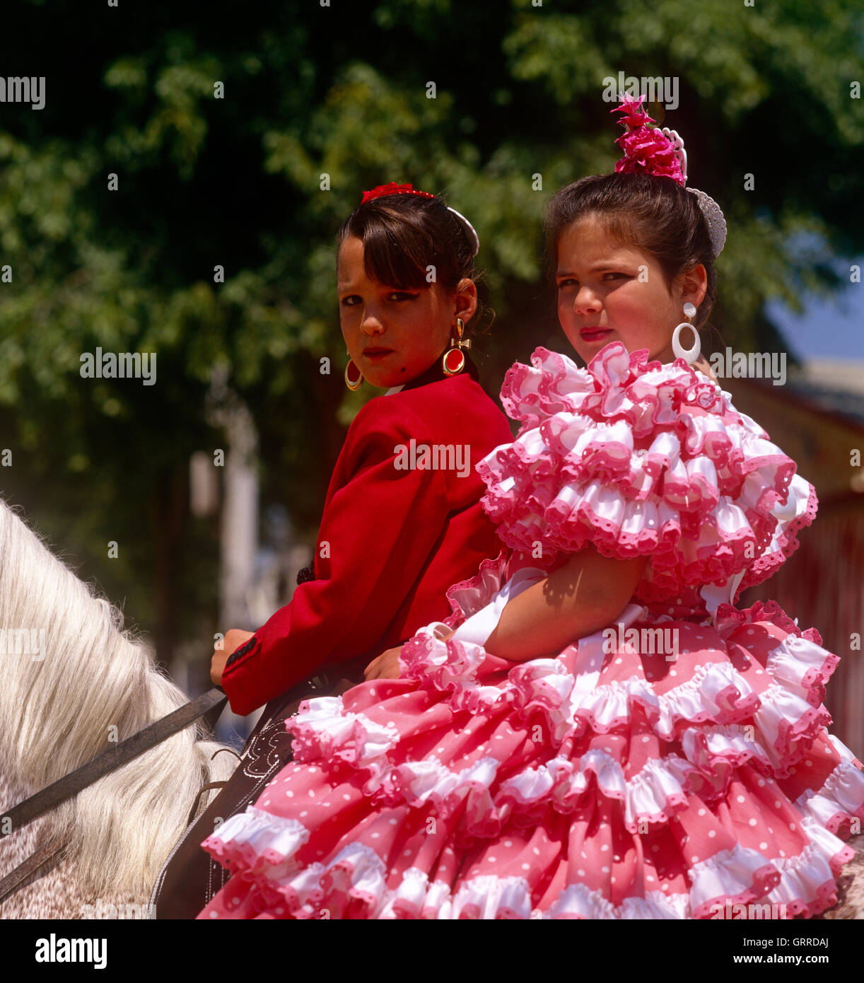 Spanish in costume national à la Feria (foire aux chevaux) à Séville, Andalousie, Espagne Photo Stock