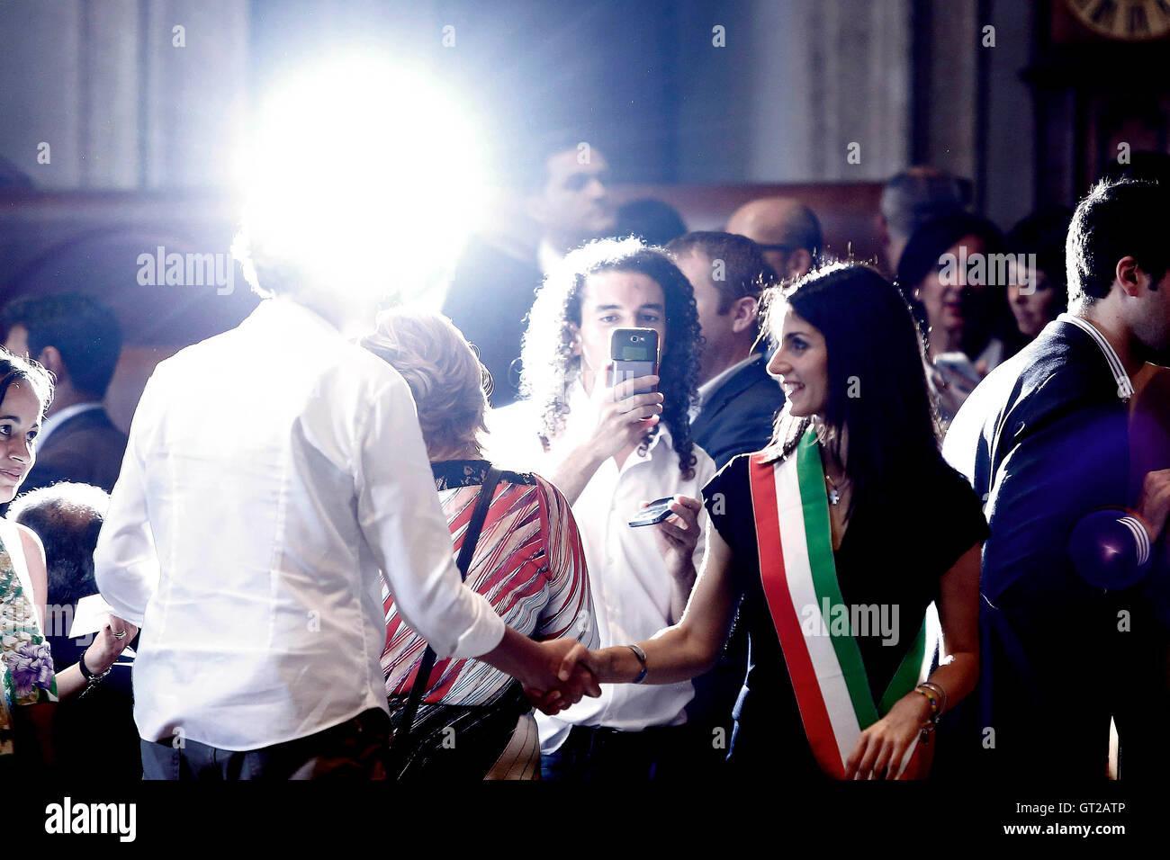 Virginie Raggi Rome 8 septembre 2016 Circulation 5 étoile partie. Samantha Zucchi Insidefoto Photo Banque D'Images