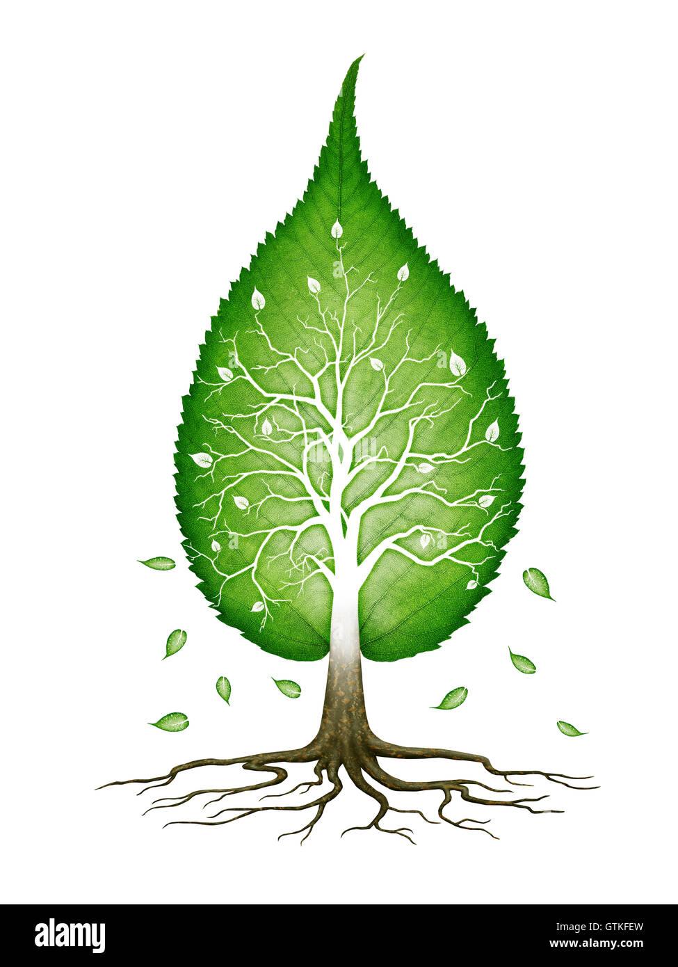 En forme de feuille verte arbre avec branches et racines fractales infinie nature zen concept spirituel isolé Photo Stock