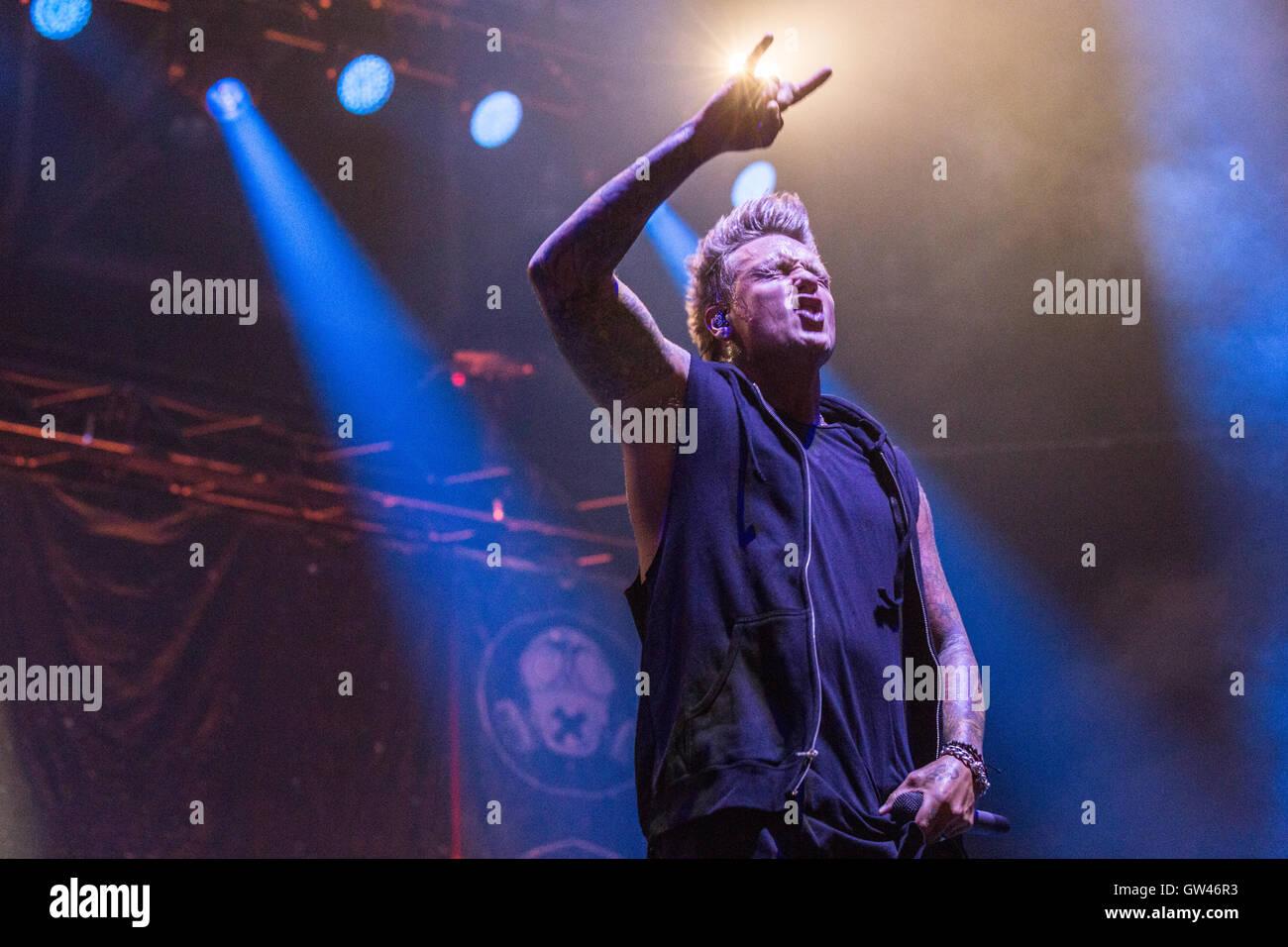 Jacoby Shaddix de Papa Roach à Abbotsford Center le 9 septembre 2016 Photo Stock