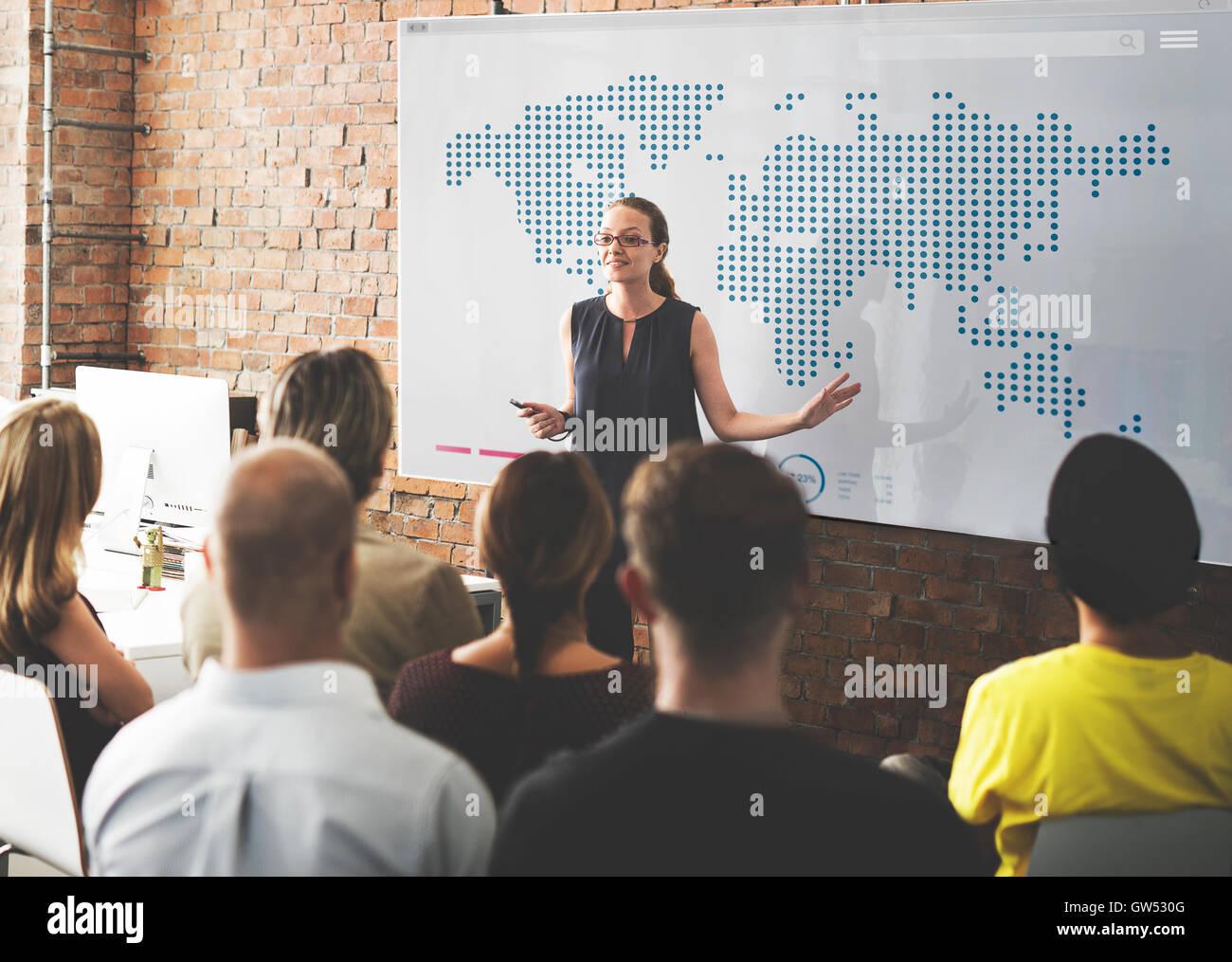 La cartographie mondiale Global Business Communication Concept Photo Stock