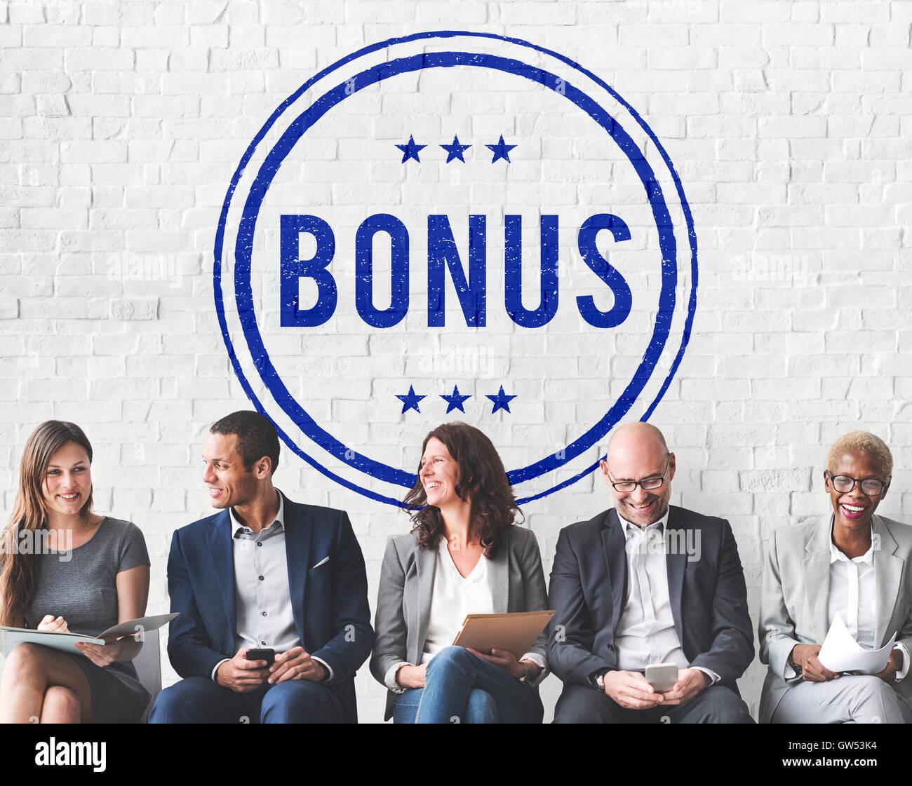 Prix bonus incitatif lucratif Concept de compensation supplémentaire Banque D'Images