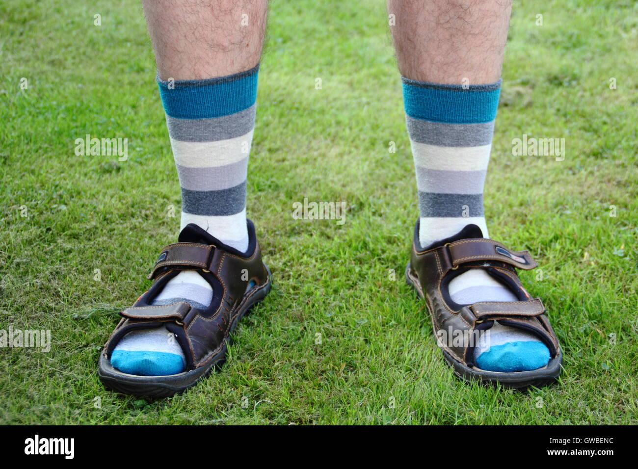 ca5faf6b024 Un homme porte des chaussettes avec des sandales en été dans un jardin  intérieur