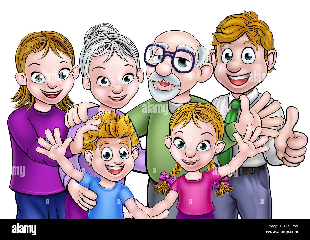 La famille de dessins anim s avec les parents enfants et grands parents banque d 39 images photo - Dessin anime avec des poneys ...