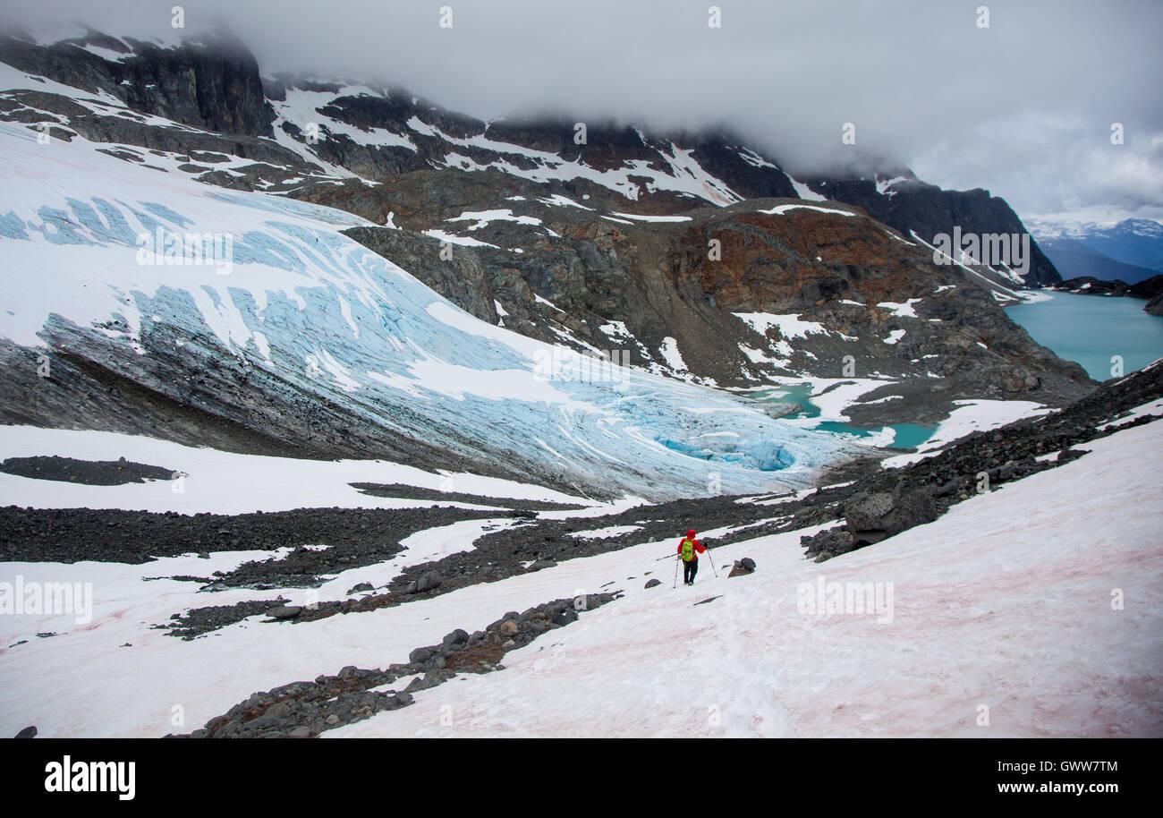 L'Exploration de l'arrière-pays, Wedgmemount Lake, Whistler, British Columbia, Canada Photo Stock