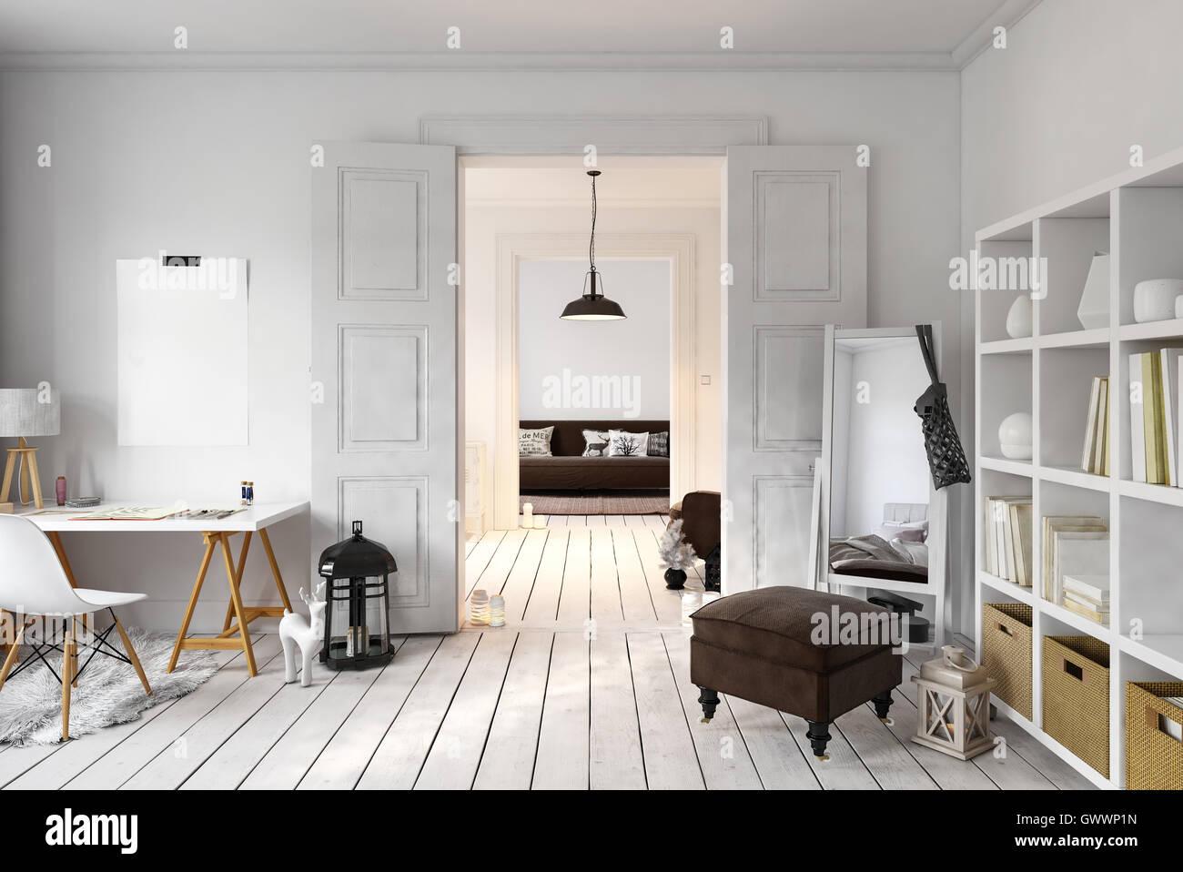 De l intérieur bureau loft et un espace de vie avec grand miroir