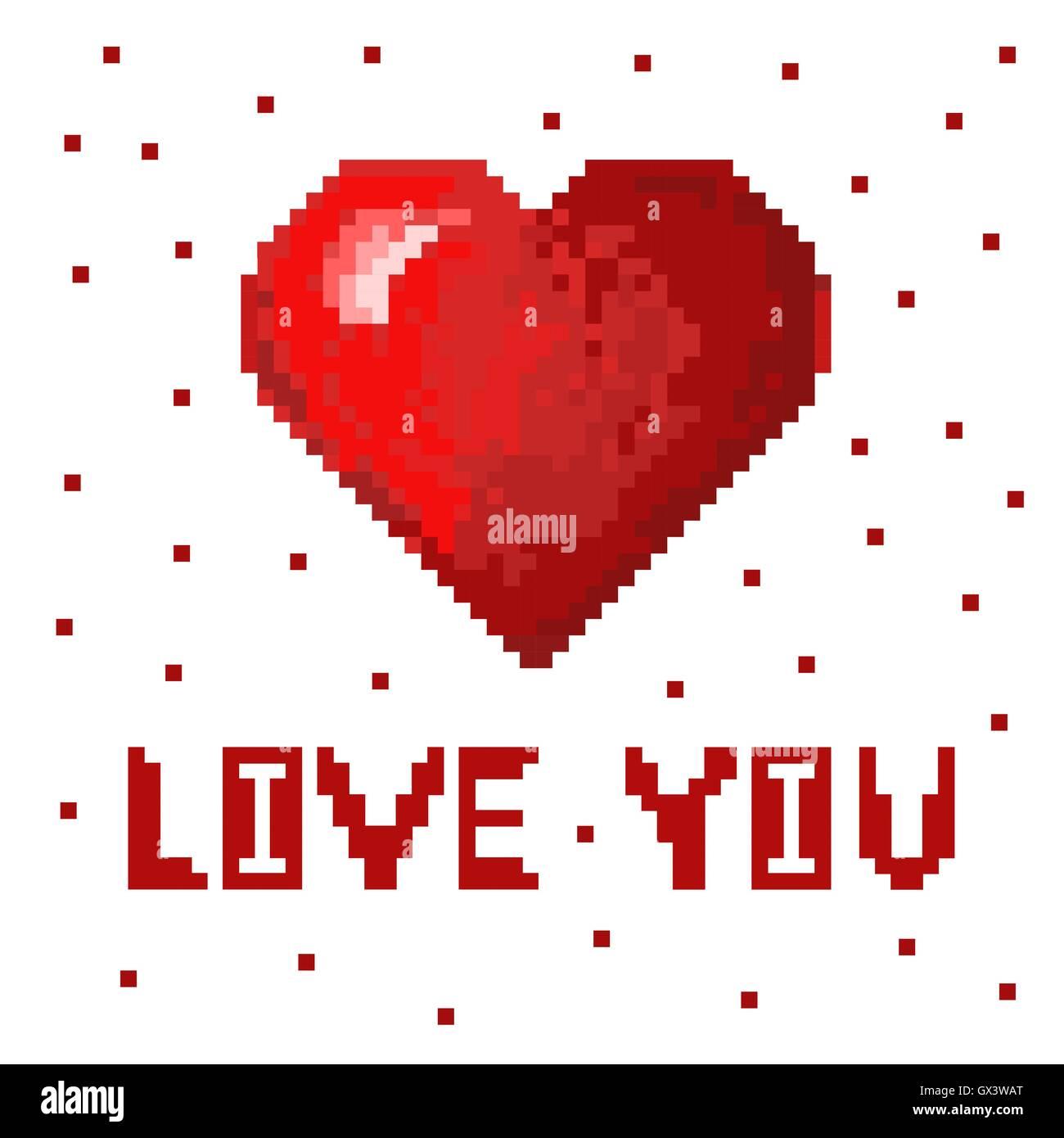 Pixel Rouge Coeur En Pixel Art Style Volume Mignon Coeur Image Vectorielle Stock Alamy