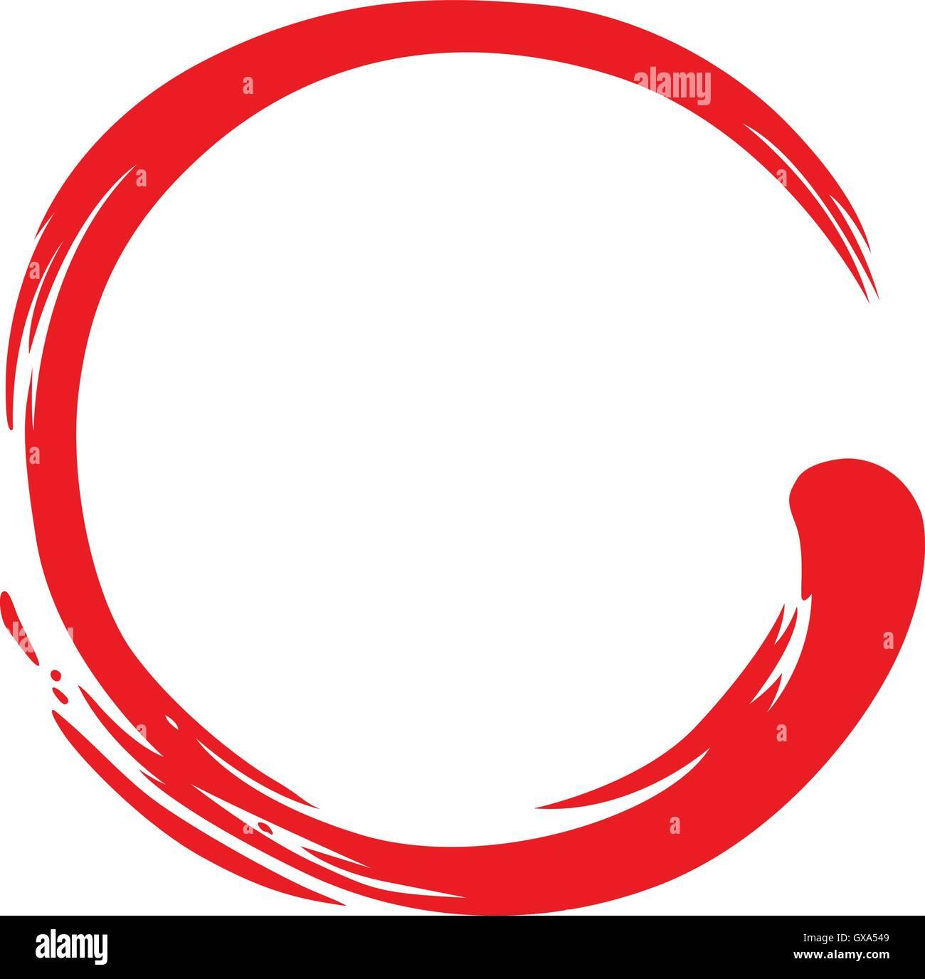 Zen symbole simple cercle rouge Photo Stock