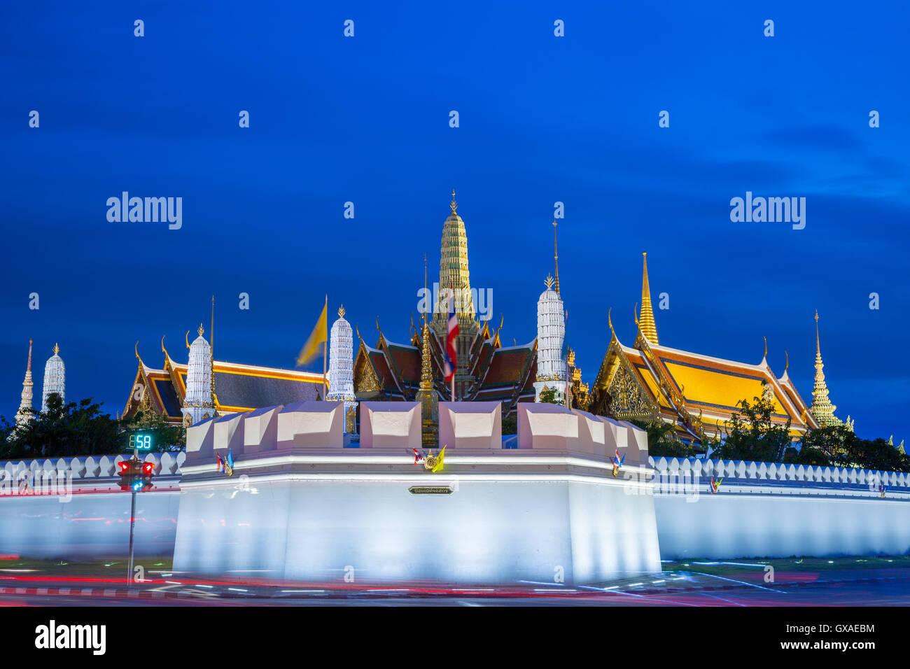 Le Grand Palais au crépuscule, Bangkok, Thaïlande. Photo Stock