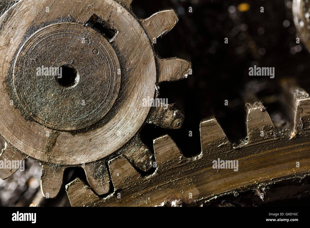 Close up of printing machinery cogs en atelier de l'imprimerie Banque D'Images