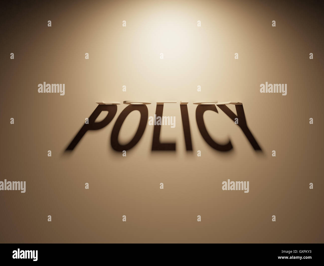 Un rendu 3D de l'ombre d'un texte à l'envers qui lit politique. Photo Stock