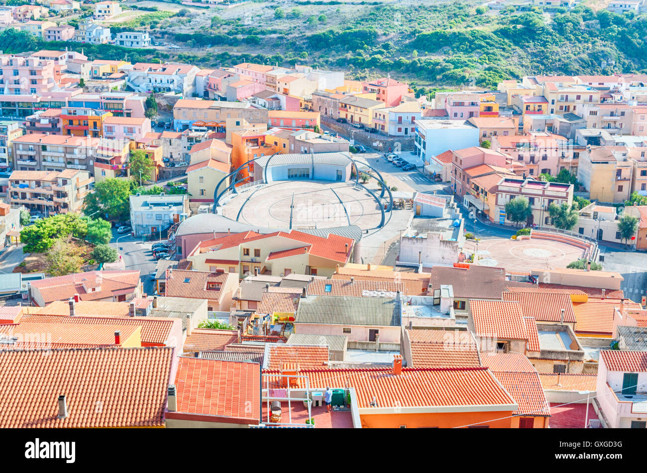 La vieille ville de Castelsardo - Sardaigne - Italie Photo Stock