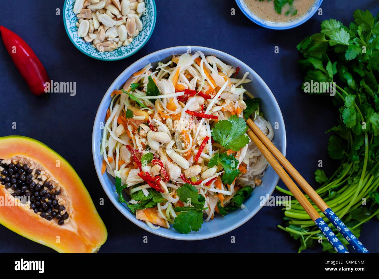 Poulet poché, chou et salade de papaye avec nouilles de riz et la coriandre Photo Stock