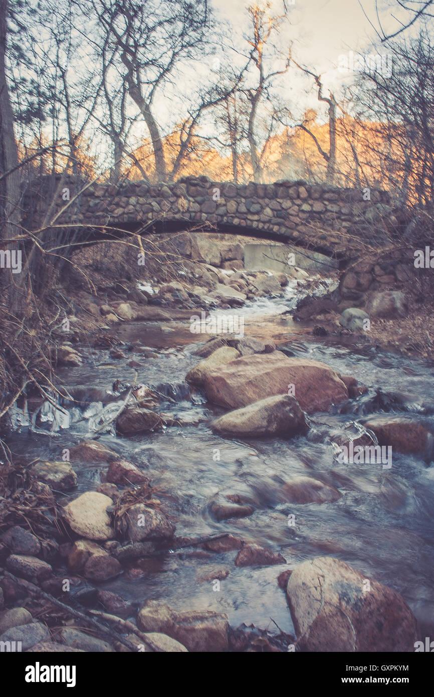 Pont sur la rivière Photo Stock