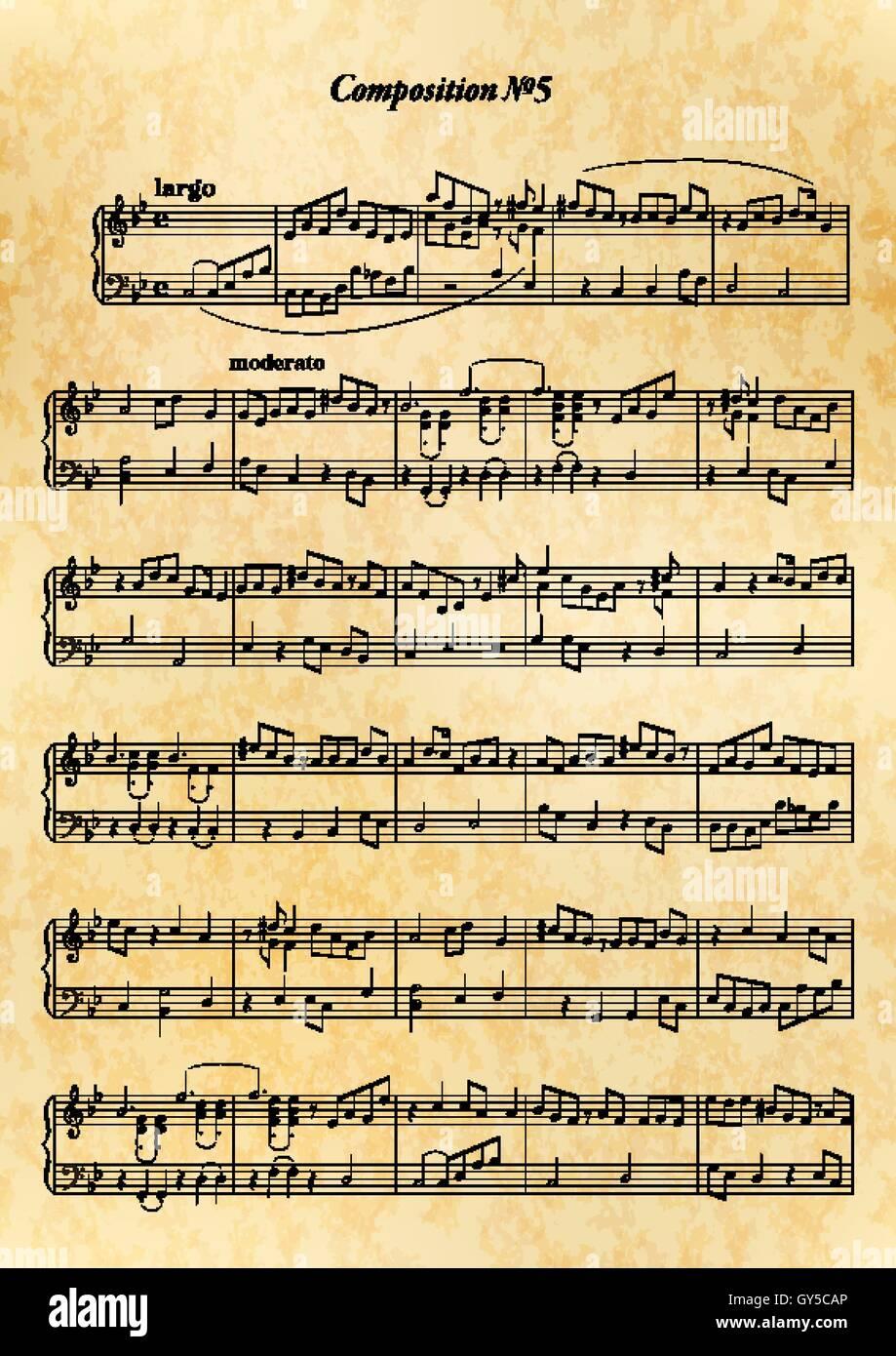 Fiche De Note De Musique Avec Mélodie Difficile Sur Vieux