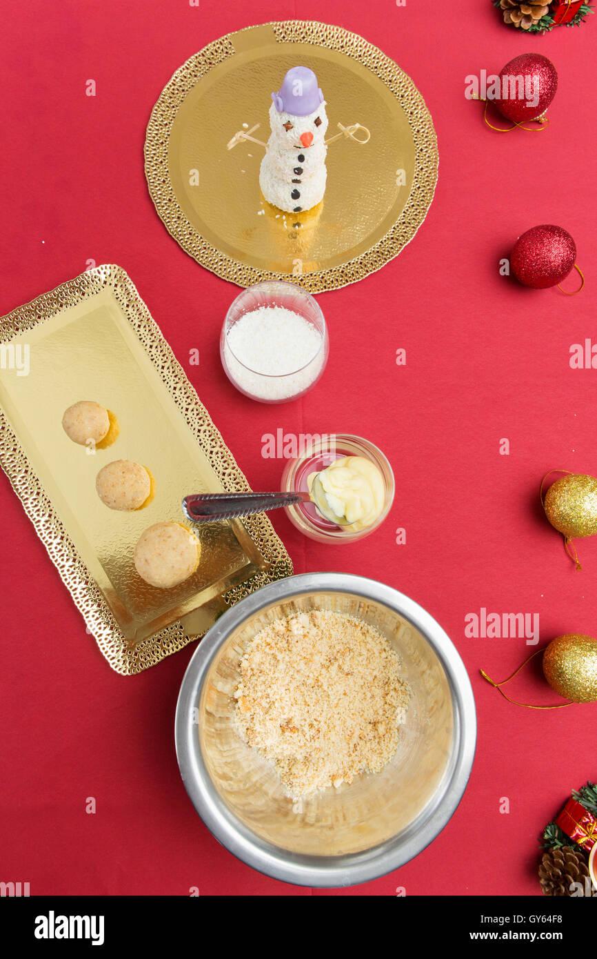 Ingrédients pour le dessert de Noël Photo Stock