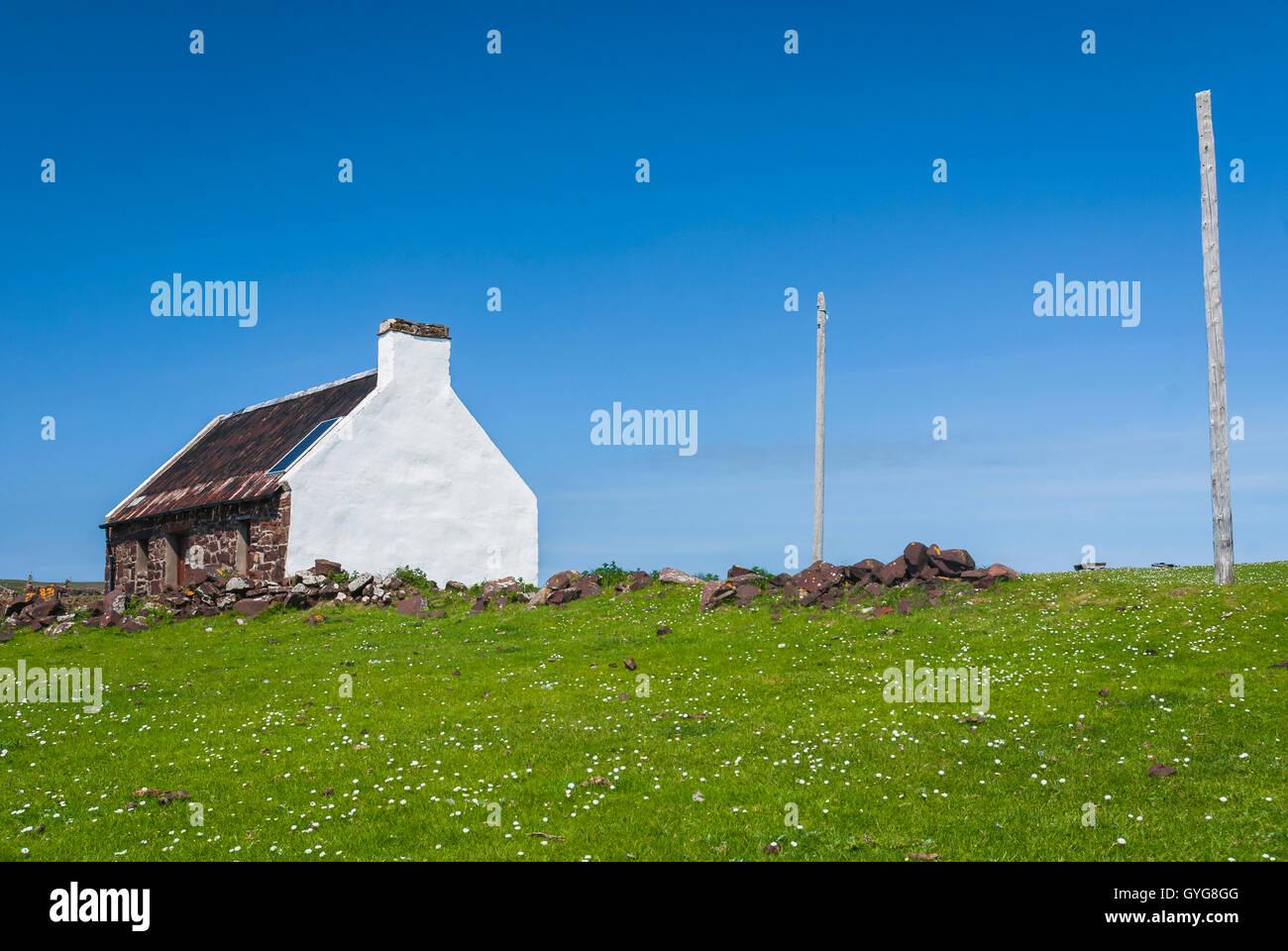 Le Bothy Saumon dans le petit village de Clachtoll crofting, Wester Ross, Scotland-. Photo Stock