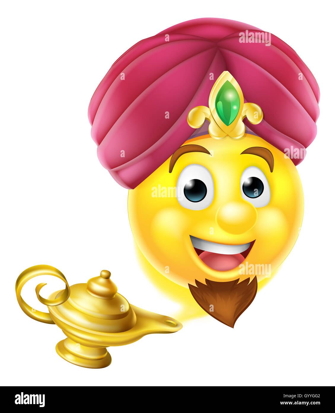Cartoon Emoticone Genie Emoji Comme Dans L Histoire D Aladin Qui Sort D Une Lampe Magique Photo Stock Alamy