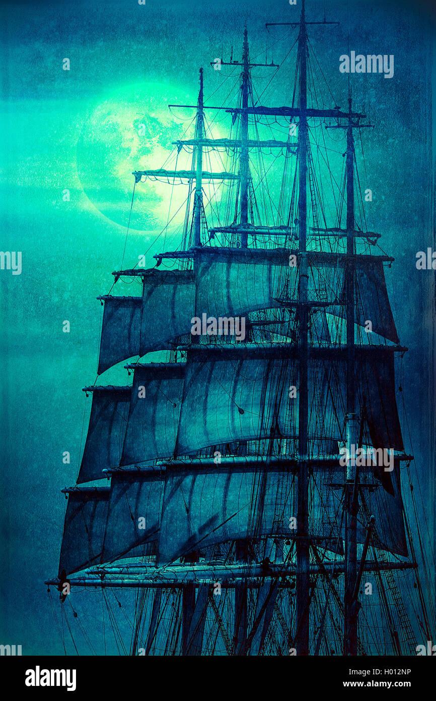 Vieux m ts voile bateau pirate dans la lumi re de la lune - Voile bateau pirate ...