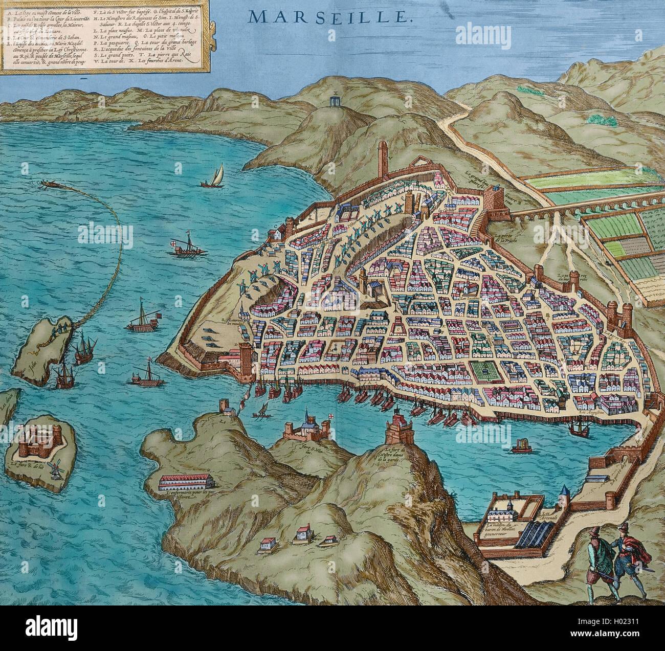La France. Marseille en 16ème siècle. La carte. Gravure en 'Théâtre des principalles villes Photo Stock